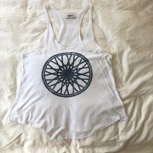 Soulcycle White Tank with Wheel Graphic Tank Top